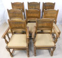 Set of Eight, Old Charm Oak Dining Chairs